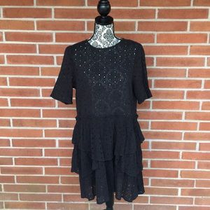 H&M Black Eyelet Tiered Sheer Dress